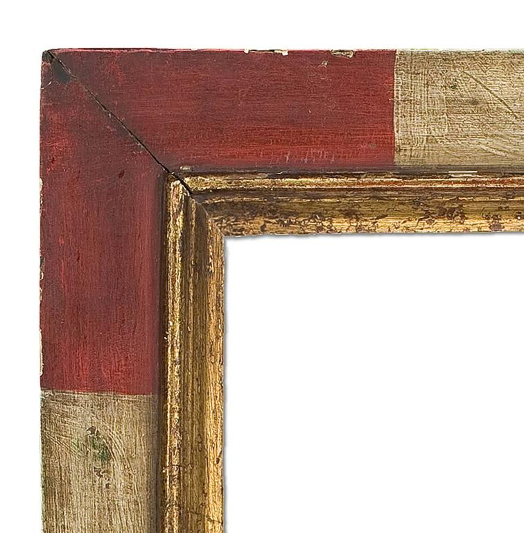 Hand shaped, giltwood and painted mirror in 18th century, Spanish style. Measures: 21