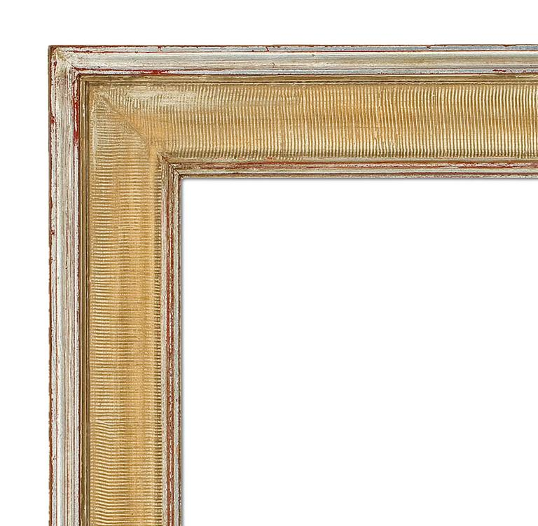Hand shaped and giltwood Mid-Century Modern style mirror. Measures: 22