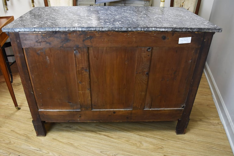 Bronze 19th Century French Walnut Empire Commode with Marble Top For Sale