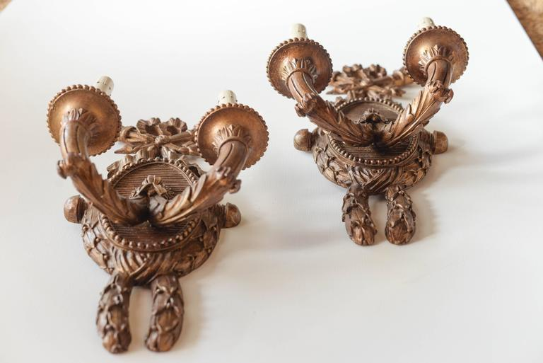 Directoire Pair of 19th Century French Two-Arm Sconces For Sale