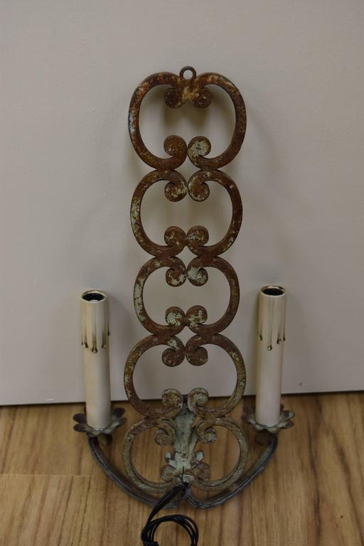 Pair of Early 20th Century French Iron Sconces For Sale 4