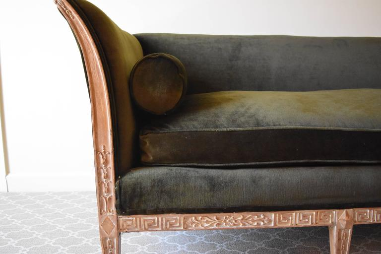 Vintage Directoire Style Sofa with Wood Trim 4