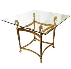 Mid-20th Century Regency Style Brass and Glass Table