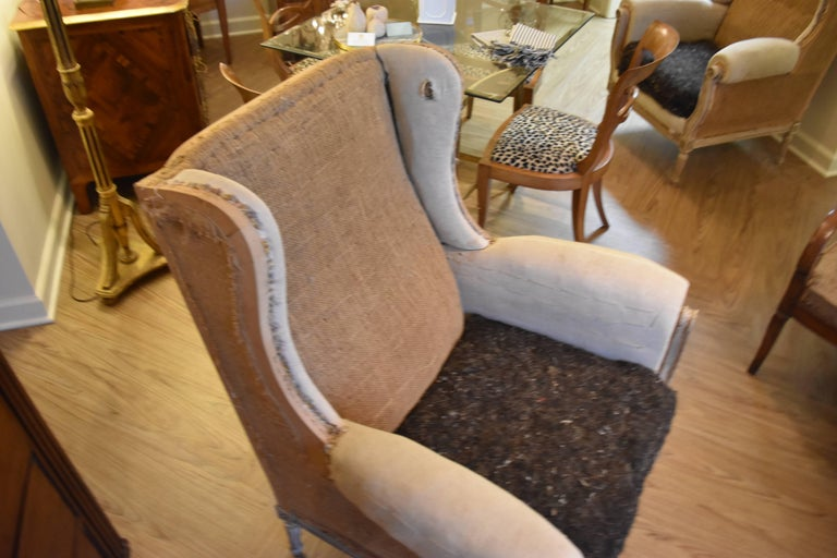 Pair of 19th Century Louis XVI Style Wingback Chairs 5