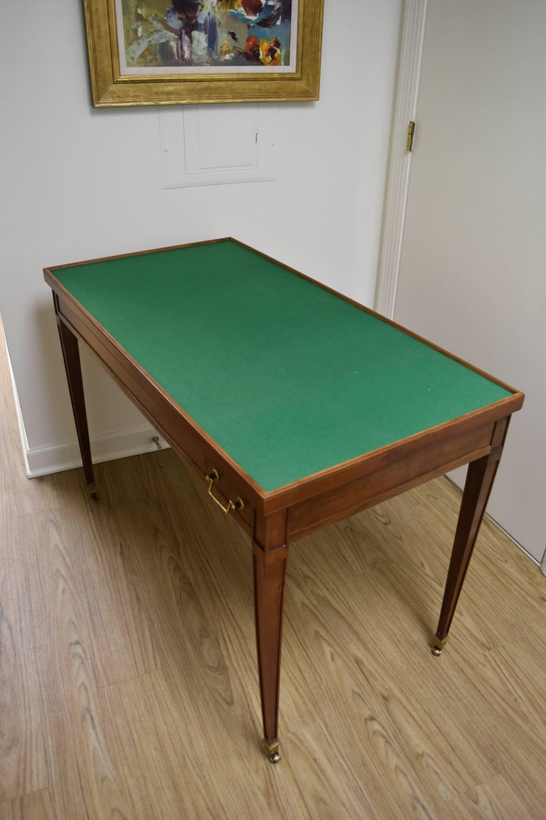 French Louis XVI Style Walnut Game Table with Reversible Top  For Sale