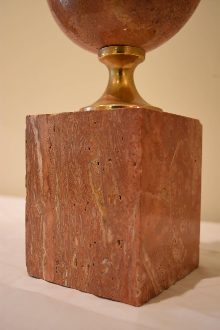 Pair of French Pink or Coral Travertine Maison Barbier Lamps In Excellent Condition For Sale In Nashville, TN