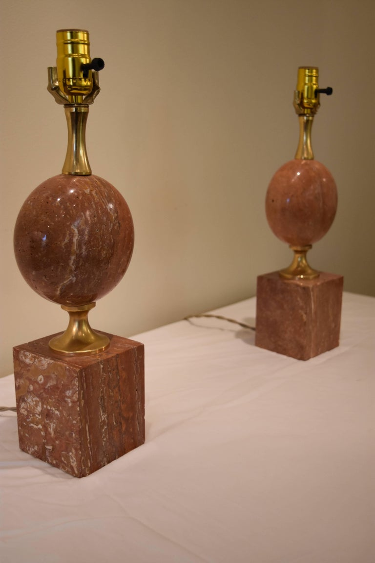 Pair of French Pink or Coral Travertine Maison Barbier Lamps For Sale 2