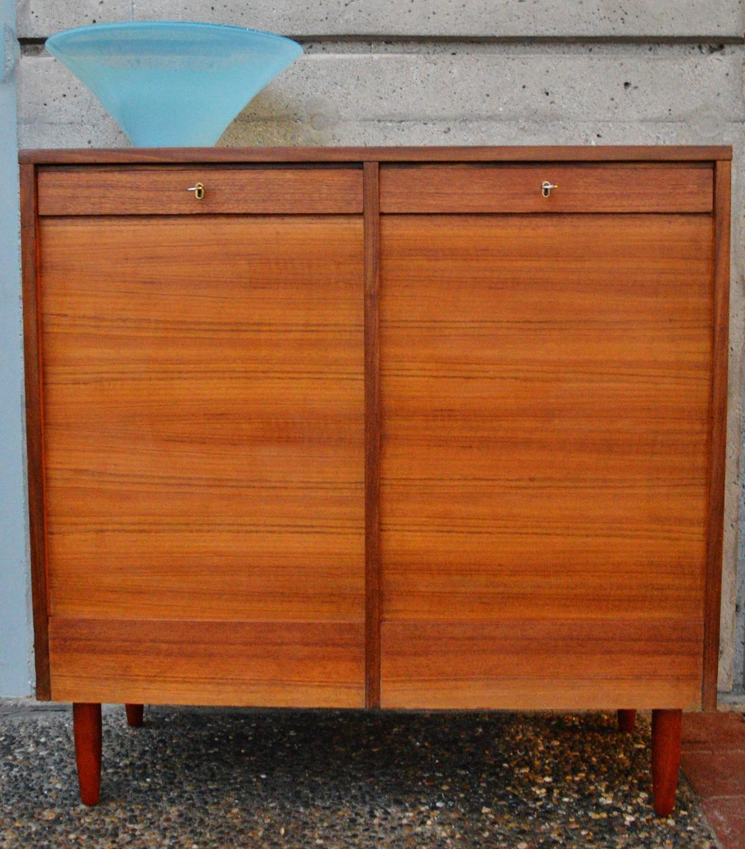 Teak Tambour Door Flat File Storage Cabinet At 1stdibs