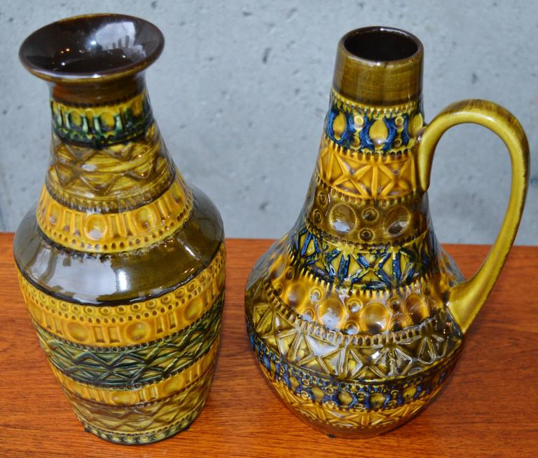 Mid-20th Century Pair of West German Bay Incised Pottery Vases For Sale