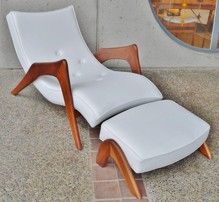 rare grasshopper chaise and ottoman white leather by adrian pearsall 2