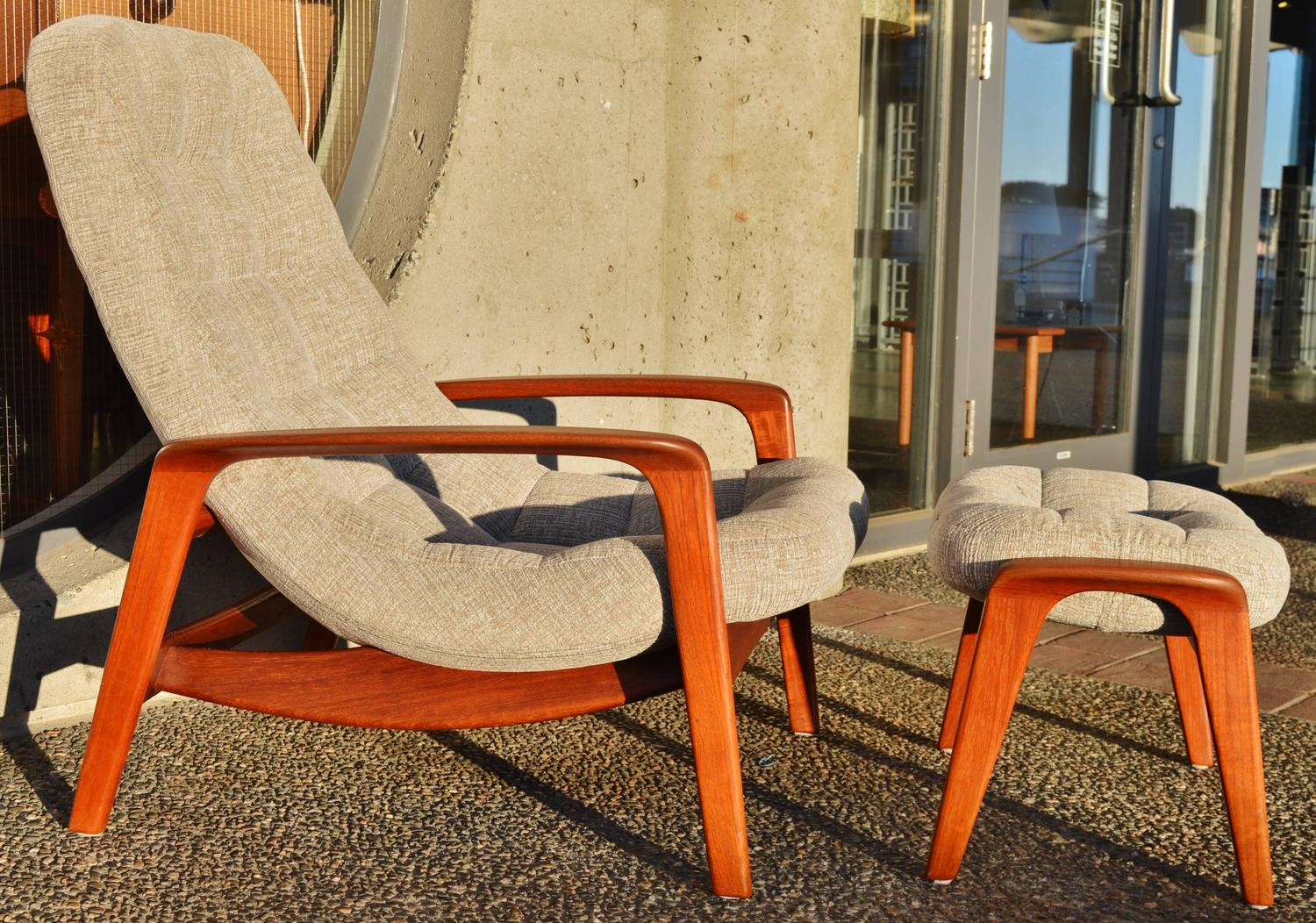 Button Tufted Danish Style Teak Lounge Chair And Ottoman Restored At 1stdibs