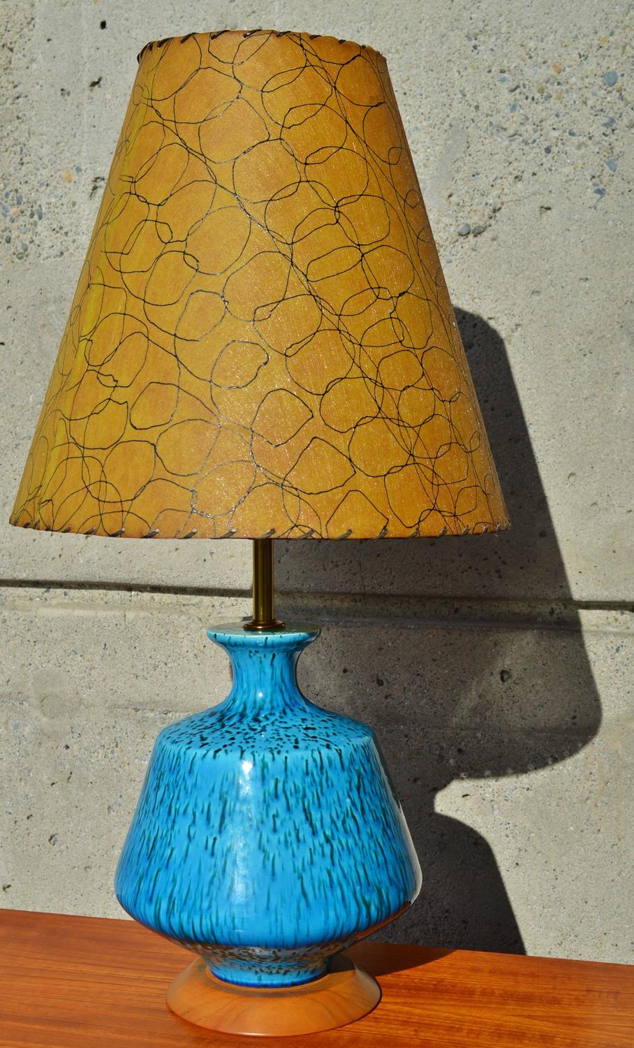 Striking Blue Ceramic Lamp with Hand-Painted Fiberglass Shade at 1stdibs