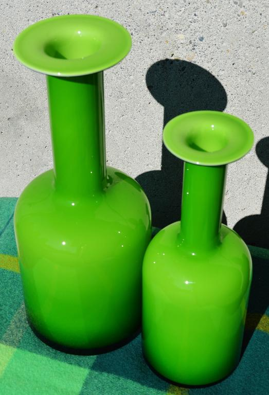 Blown Glass Pair of Green Glass Holmegaard Gulvases by Otto Brauer For Sale