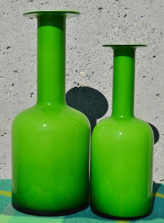 Danish Pair of Green Glass Holmegaard Gulvases by Otto Brauer For Sale