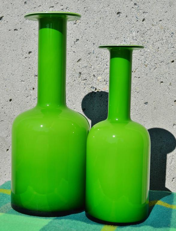 Pair of Green Glass Holmegaard Gulvases by Otto Brauer For Sale 1