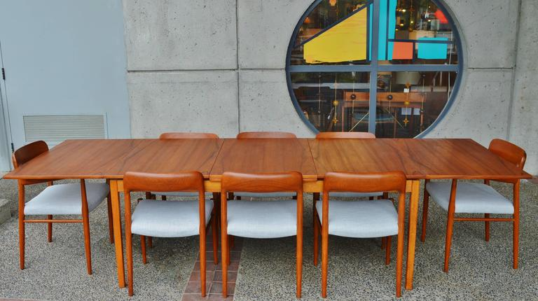 Huge Skaraborgs Danish Teak Flip Open Leaf Dining Table-Nearly ...