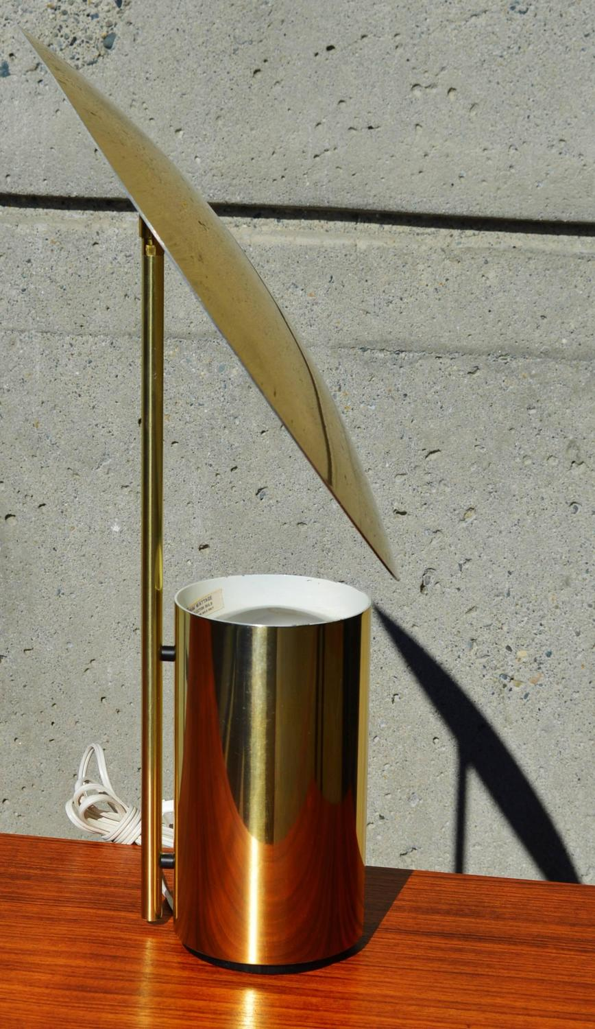 Rare george nelson half nelson brass reflector lamp for for Half nelson table lamp