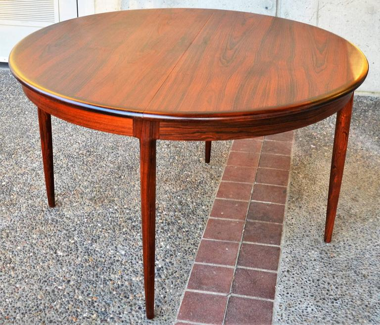 Unique restored n o moller rosewood round one leaf dining for Unusual round dining tables