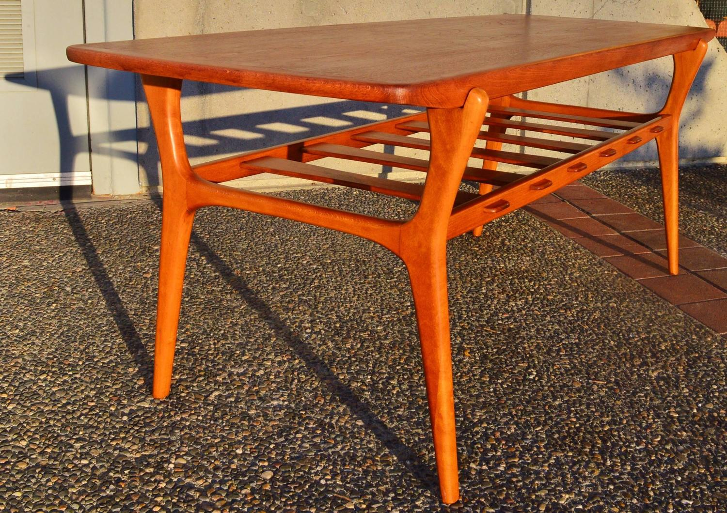 Sculptural Teak Coffee Table With Birch Base For Sale At 1stdibs