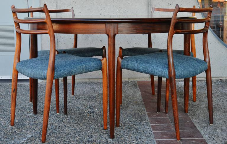 This Impeccable Early Danish Modern Rosewood Dining Set Was Entirely Designed By N O Moller And Bears
