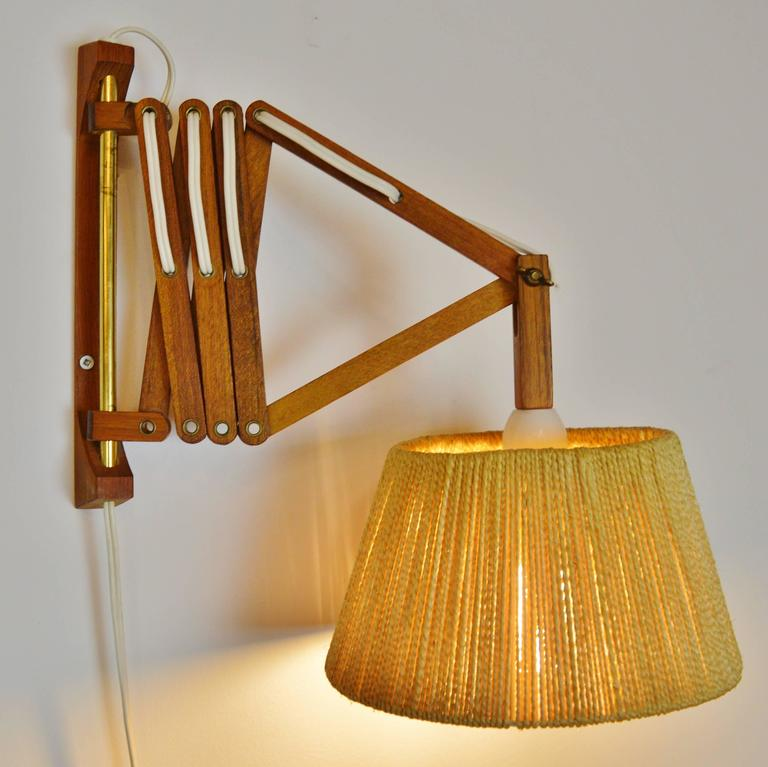 Wall Mounted Accordion Lamps : Teak and Jute Table/Floor Lamp and Accordion Wall Lamp at 1stdibs
