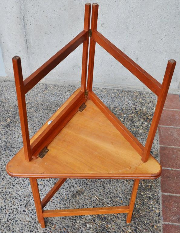 Brass Pair of Danish Teak Illum Wikkelsø Folding Coffee or Side Tables for Silkeborg For Sale