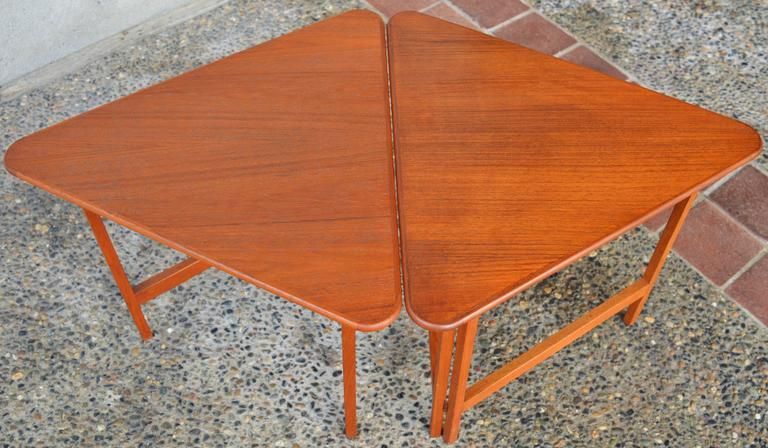 Mid-Century Modern Pair of Danish Teak Illum Wikkelsø Folding Coffee or Side Tables for Silkeborg For Sale