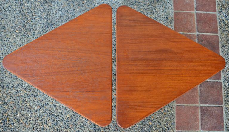 Mid-20th Century Pair of Danish Teak Illum Wikkelsø Folding Coffee or Side Tables for Silkeborg For Sale