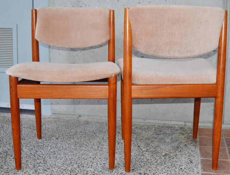 Mid-20th Century Set Six Teak Finn Juhl Dining Chairs Model 197 For Sale