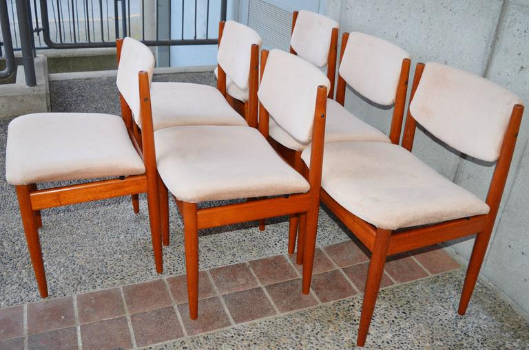 Upholstery Set Six Teak Finn Juhl Dining Chairs Model 197 For Sale