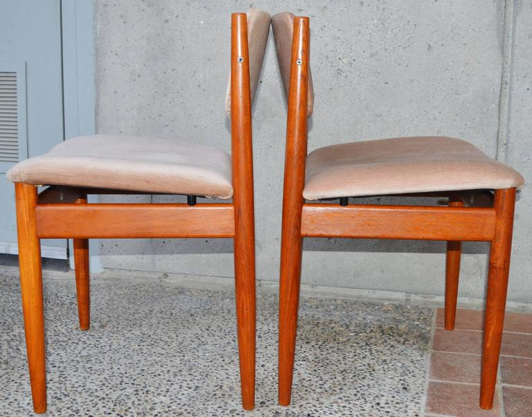 Mid-Century Modern Set Six Teak Finn Juhl Dining Chairs Model 197 For Sale