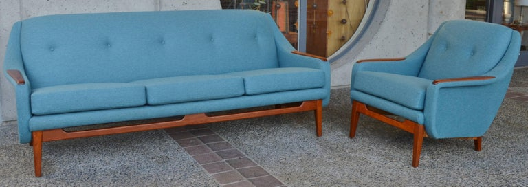 Scandinavian Teak Sofa And Lounge Chair In Blue Wool At
