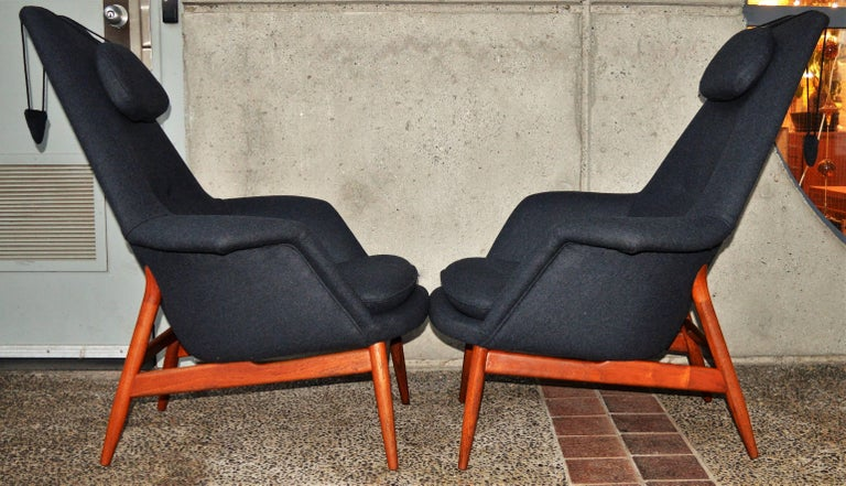 Pair Of Teak Manta Ray Chairs In Charcoal Wool By Bjorn