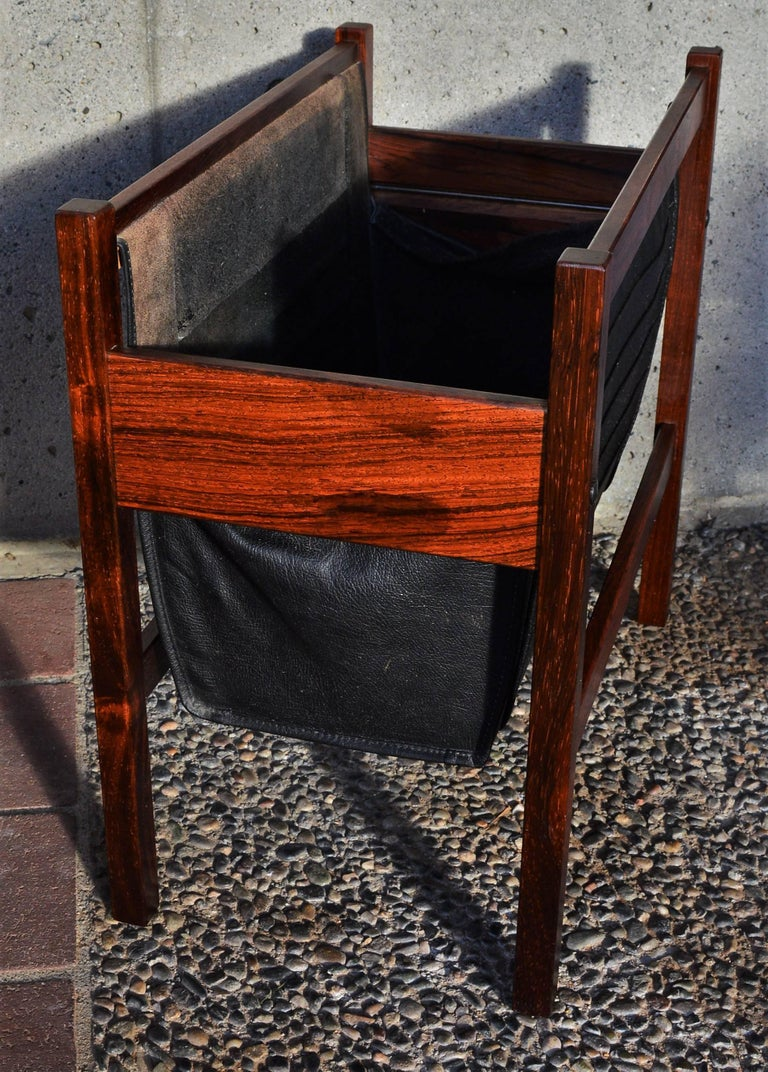 Mid-Century Modern Danish Modern Rosewood and Black Leather Magazine Rack For Sale