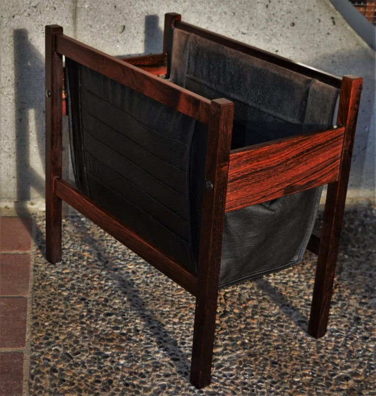 Danish Modern Rosewood and Black Leather Magazine Rack For Sale 2
