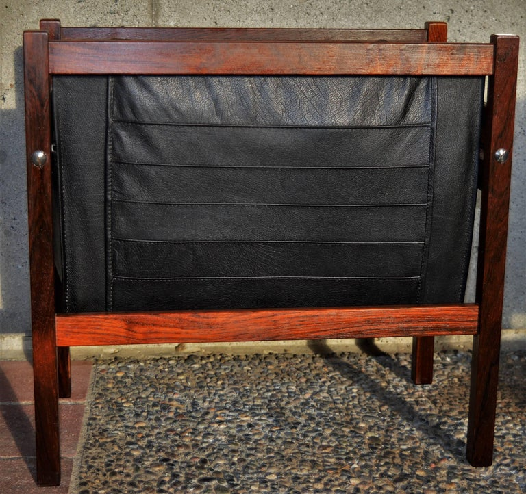 Mid-20th Century Danish Modern Rosewood and Black Leather Magazine Rack For Sale