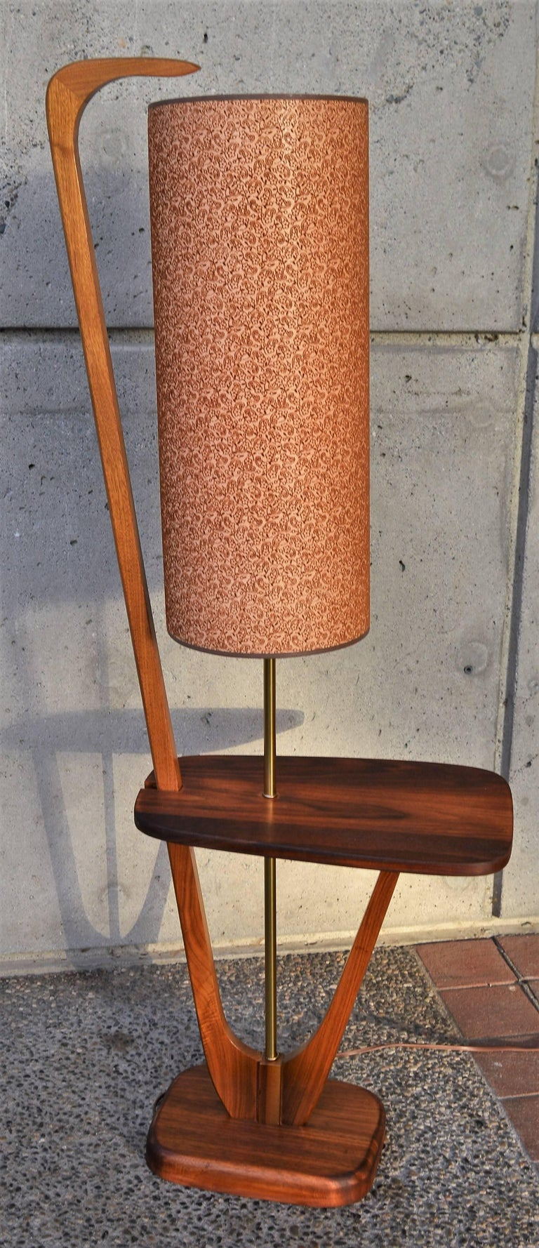 Mid Century Modern Solid Walnut Floor Lamp W Table At 1stdibs