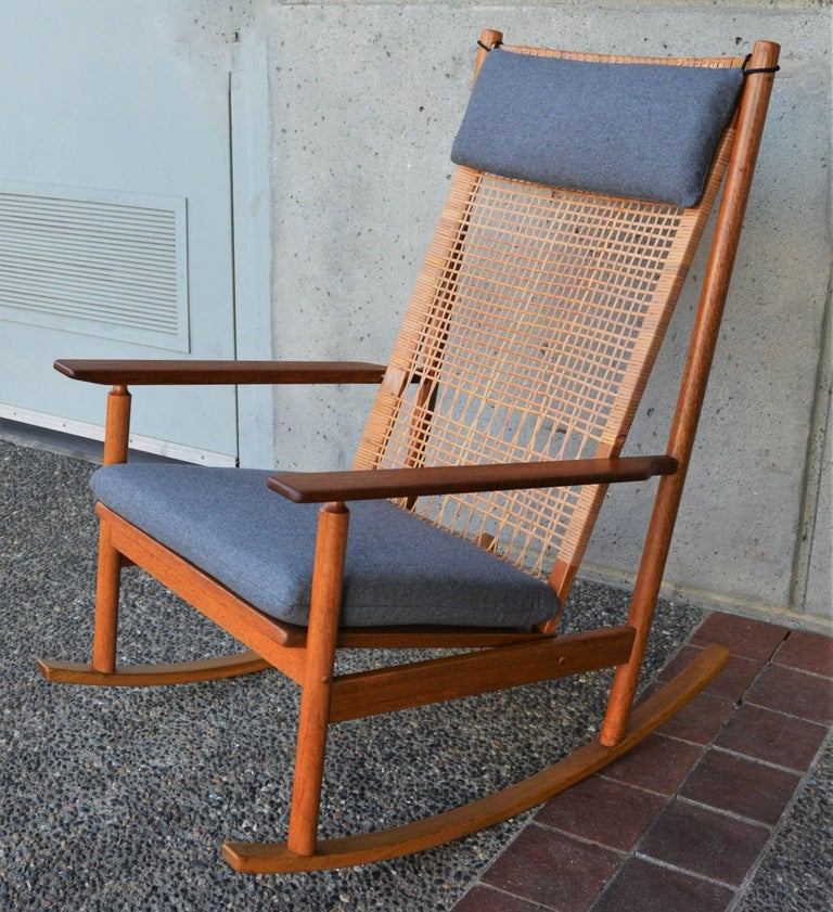 Amazing Hans Olsen For Juul Kristensen Teak Rocking Chair Cane Back Gmtry Best Dining Table And Chair Ideas Images Gmtryco