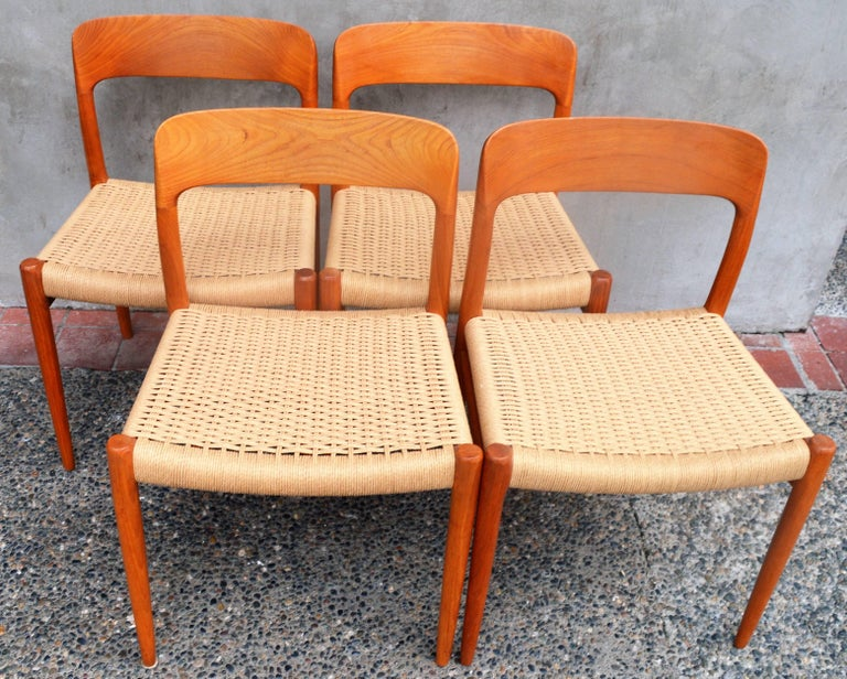 Mid-Century Modern Set of Four Danish Teak Dining Chairs by N.O. Moller for J.L. Moller For Sale