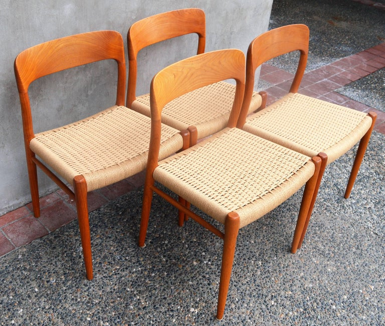 Set of Four Danish Teak Dining Chairs by N.O. Moller for J.L. Moller In Excellent Condition For Sale In New Westminster, British Columbia