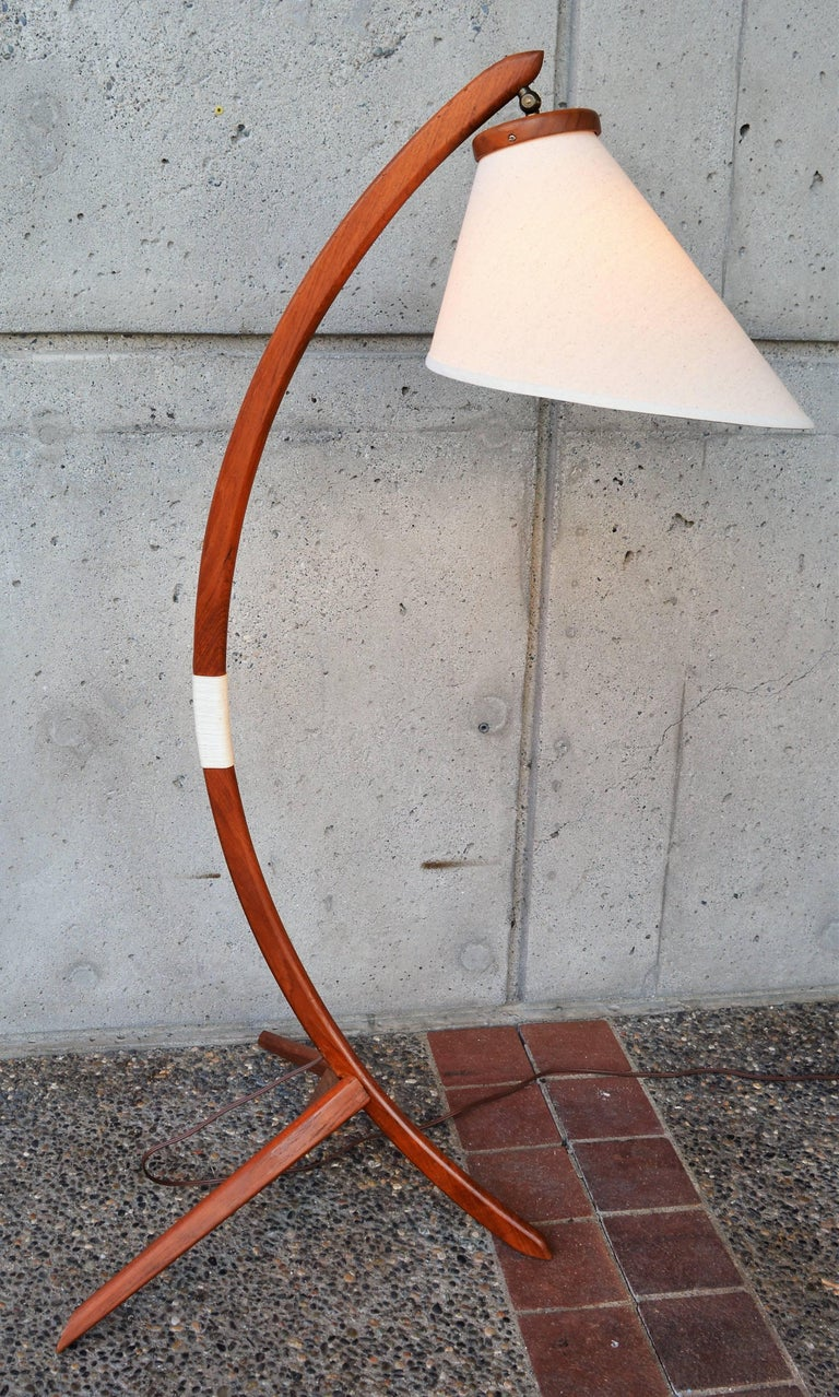 Mid-20th Century Danish Teak Arc or Bow Tripod Floor Lamp with New Bonnet Shade, Rispal Style For Sale