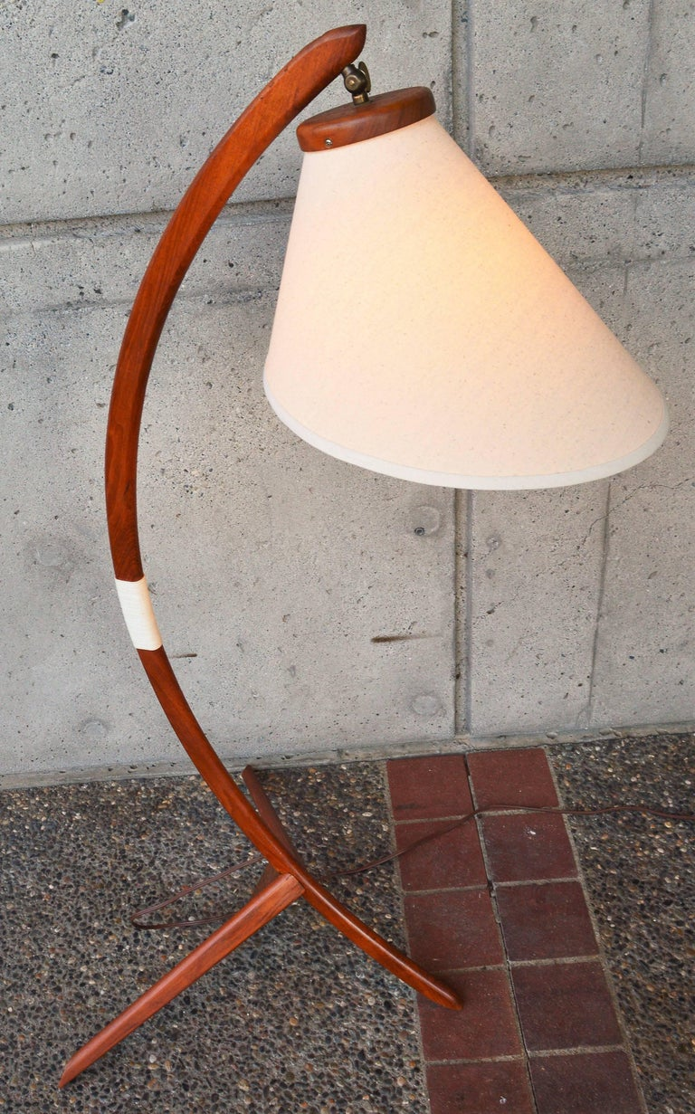 Danish Teak Arc or Bow Tripod Floor Lamp with New Bonnet Shade, Rispal Style For Sale 2