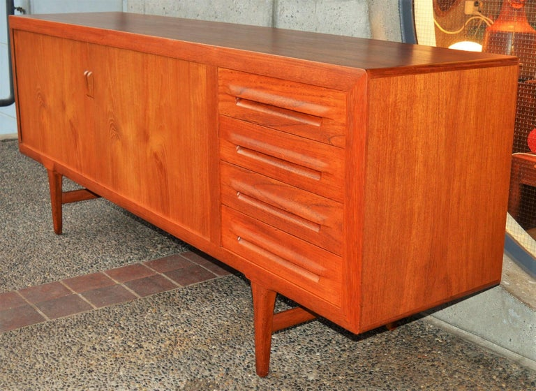 1950s Danish Teak Tambour Credenza by Ib Kofod-Larsen with Finished Back In Excellent Condition For Sale In New Westminster, British Columbia