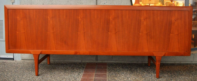 Mid-Century Modern 1950s Danish Teak Tambour Credenza by Ib Kofod-Larsen with Finished Back For Sale