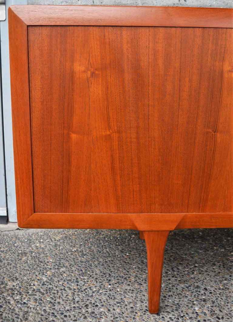 Mid-20th Century 1950s Danish Teak Tambour Credenza by Ib Kofod-Larsen with Finished Back For Sale