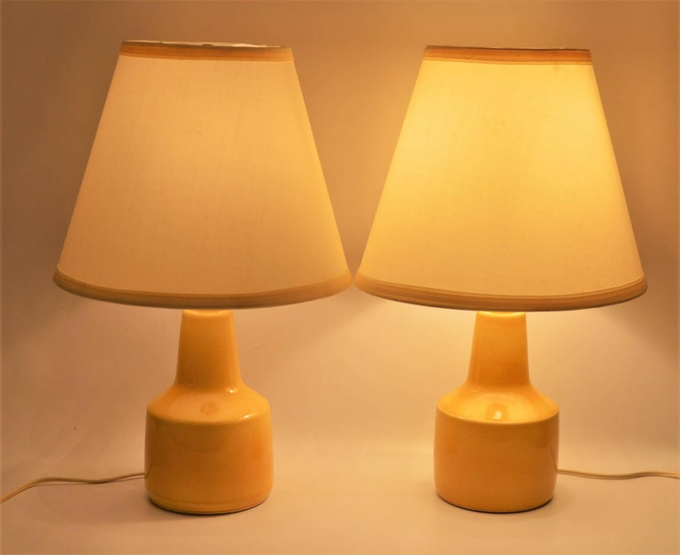 Canadian Pair of Small Soft Yellow Lotte and Gunnar Bostlund Ceramic Bedside Lamps For Sale
