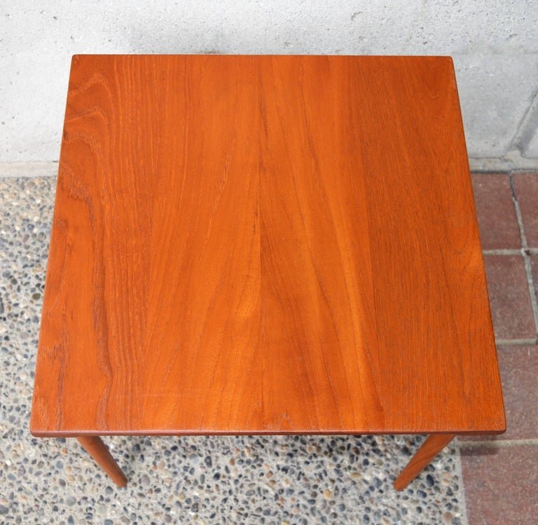 Steel Two Danish Modern Solid Teak 1960s Square Side Table by Hvidt & Mølgaard-Nielsen For Sale