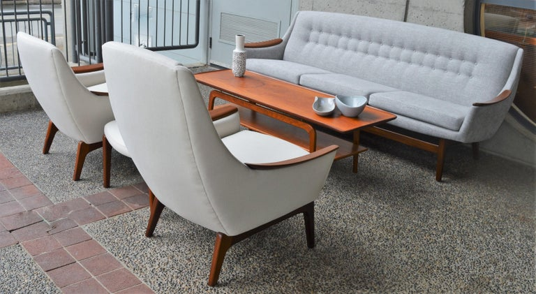 Mid-Century Modern Restored Norwegian Teak Sofa, Mama and Papa Lounge Chairs and Ottoman, 1950s For Sale
