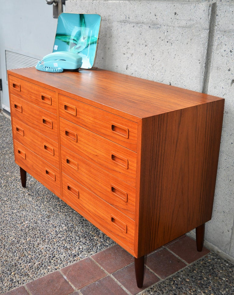 Mid Century Modern Quality Danish Teak Compact Dresser Chest Of Drawers With Legs By
