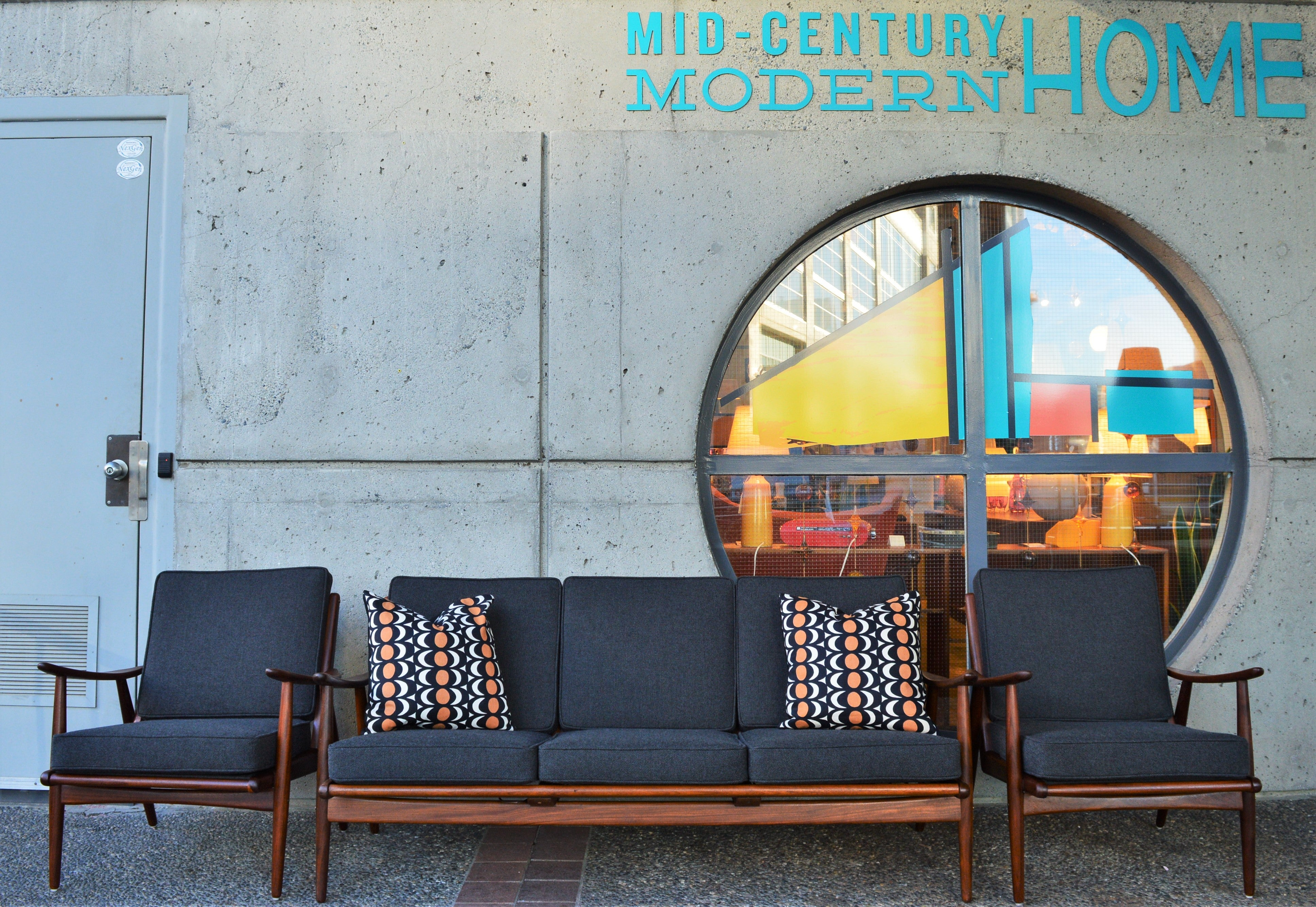 Danish modern teak frame boomerang sofa and pair of lounge chairs in new kravdrat for sale at 1stdibs
